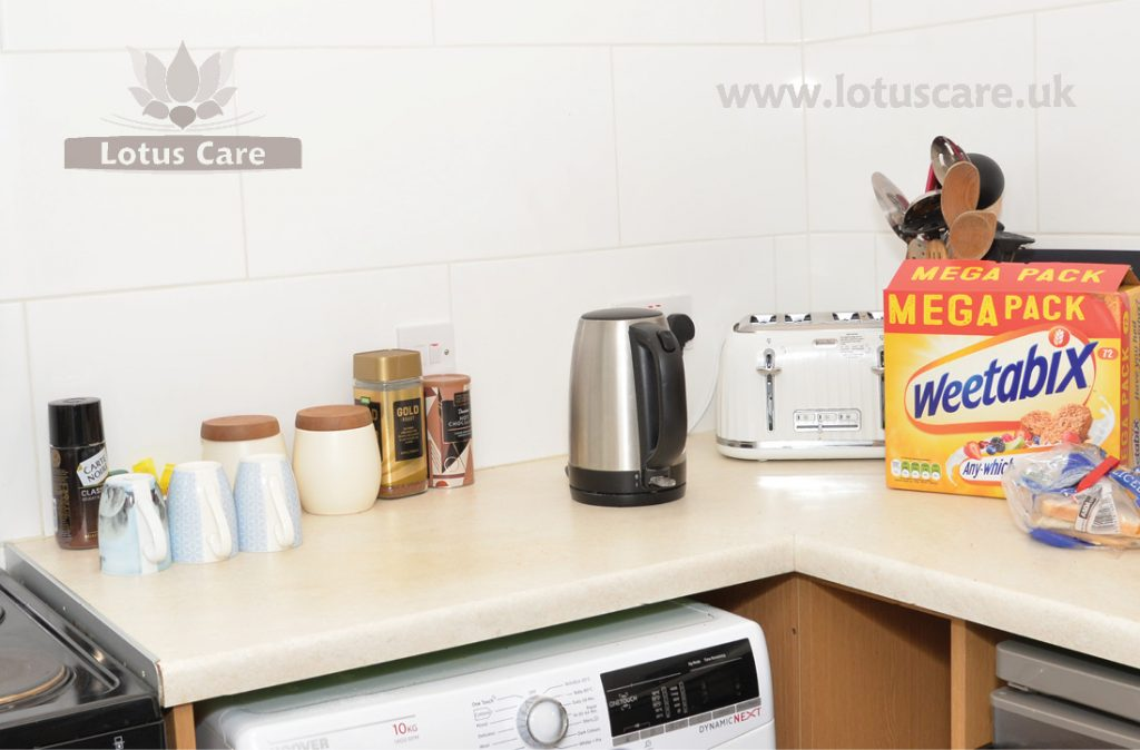 Kitchen facilities at The Bungalow Independent Living, Telford